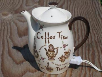 50s vintage electric Coffee Time hand-painted Japan china tea pot