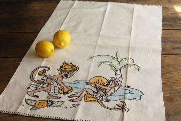50s vintage embroidered kitchen towel w/ funny monkeys, beach bums w/ dirty dishes