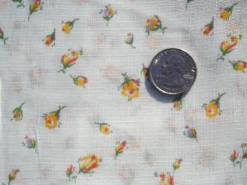 50s vintage floral print fabric, sheer cotton w/ tiny yellow rosebuds