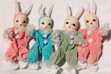 50s vintage girl pixie Easter bunnies, velvet doll ornaments, retro holiday decorations