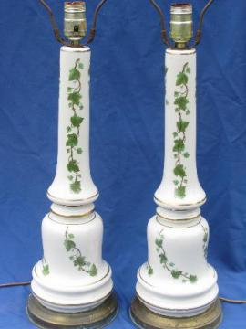 50s vintage green ivy lamps, tall white pottery table lamp pair