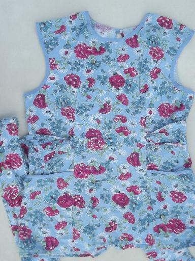 50s vintage kitchen smock, roses print cotton feedsack fabric cover-all