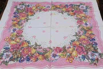 50s vintage kitchen tablecloth, retro rose pink border fruit & flowers print