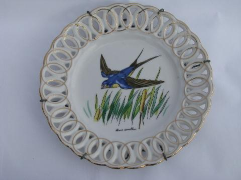 50s vintage lace edge china plate, barn swallow bird design, hand-painted Japan