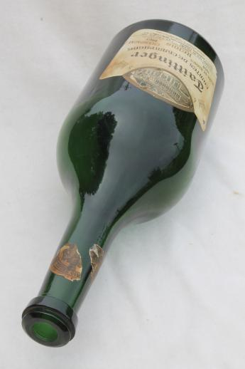 50s vintage magnum champagne bottle, large green glass bottle w/ French label dated 1959