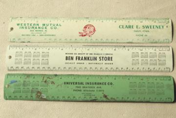 50s vintage metal rulers w/ old advertising, Ben Franklin dime stores etc.