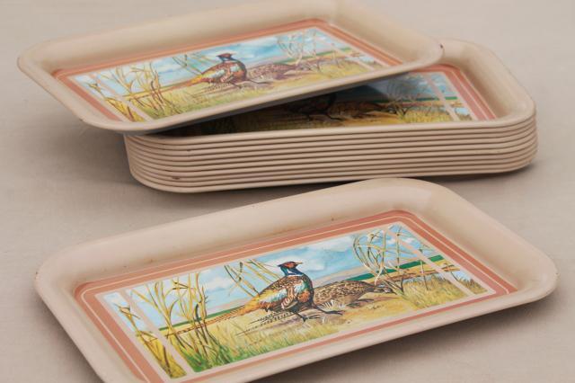 50s Vintage Metal Trays W Pheasants Game Birds Retro Tv