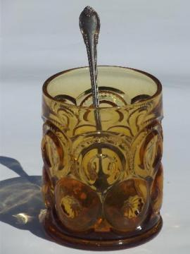 50s vintage moon and stars pattern amber glass pickle jar w/ fork