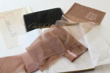 50s vintage nylon stockings, blush tone Cafe Society nylons w/ pink lace tops
