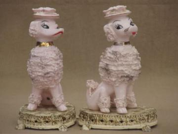 50s vintage pink french poodle china figurines / pair boudoir lamp bases