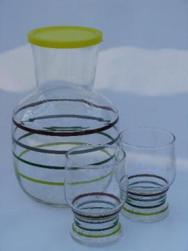 50s vintage ring pattern colored band glass refrigerator bottle, juice glasses