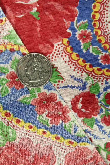 50s vintage roses print cotton fabric in bright retro colors red blue yellow jade green