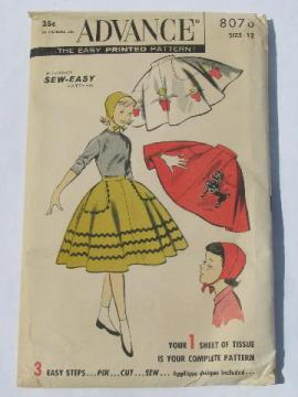 50s vintage sewing pattern girls circle skirt w/appliques, poodle etc.