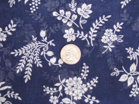50s vintage sheer cotton fabric, navy blue w/ white bouquets floral