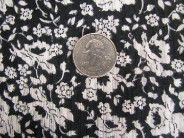 50s vintage sheer stripe cotton fabric, black w/ white roses floral