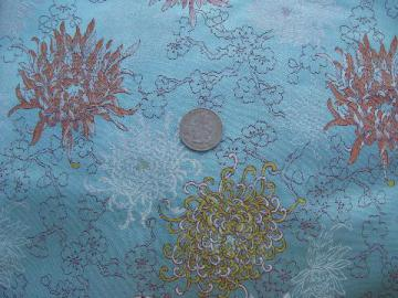 50s vintage silky brocade fabric, oriental chrysanthemums in pink & gold on aqua