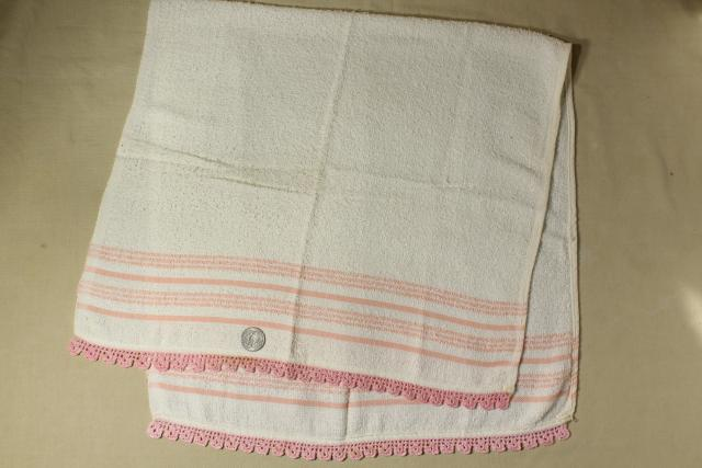 50s Vintage Terrycloth Bath And Hand Towels W Colorful