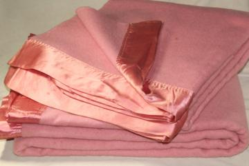 50s vintage thick pure wool bed blankets, rose pink w/ satin binding