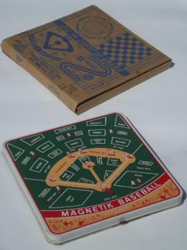 50s vintage tin litho game boards box games set, racing, magnetik baseball