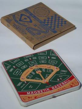 50s vintage tin litho game boards box games set, racing, magnetik baseball