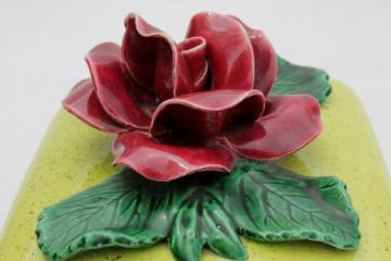 50s vintage vanity table box, lime green ceramic box w/ single huge red rose