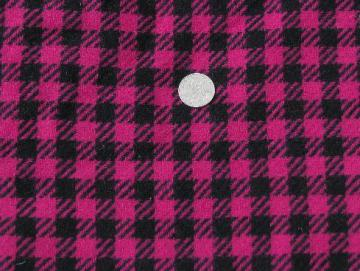50s vintage wool fabric, woven plaid checked black and fuschia pink