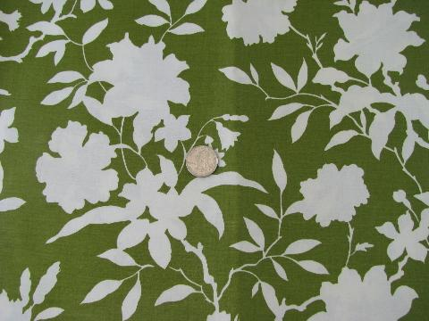 50s 60s vintage glazed cotton chintz fabric lime green white 50s 60s vintage glazed cotton chintz fabric lime green white floral print mightylinksfo