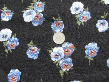 50s-60s vintage textured challis fabric, pansies floral print on black