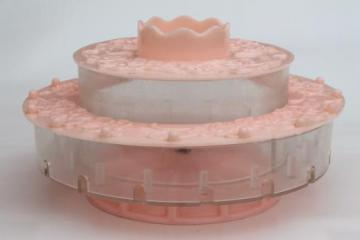 50s-60s vintage tiered pink plastic sewing box, round thread rack sewing stand