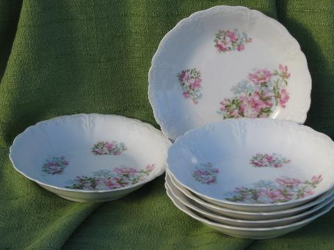 6 antique azalea lily floral china soup bowls, vintage Germany?