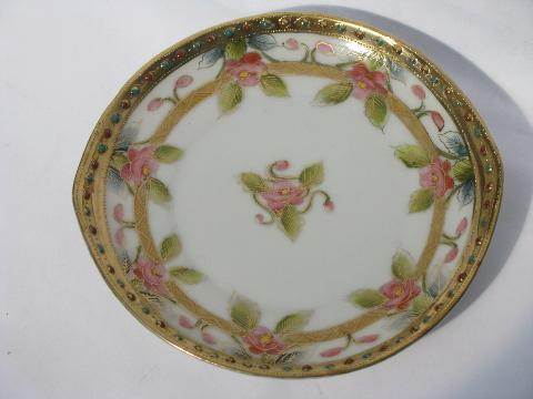 6 antique hand-painted Nippon china plates, old Japan moriage porcelain