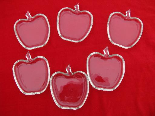 6 apple shape vintage glass dishes, small butter pats or side plates