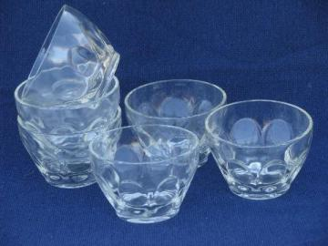 6 bowls, custard cups or sherbets, thumbprint pattern pressed glass