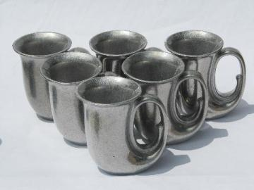 6 drinking horns, vintage Armetale pewter horn shaped beer steins