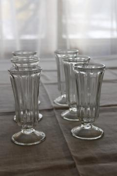 6 heavy glass parfait glasses, vintage soda counter or ice cream parlor glassware