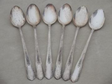 6 long iced tea spoons, 30s vintage art deco silver plate Vision Deerfield