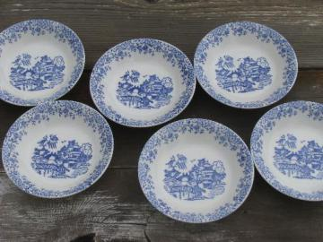6 old Blue Willow pattern fruit bowls, vintage American Limoges china?