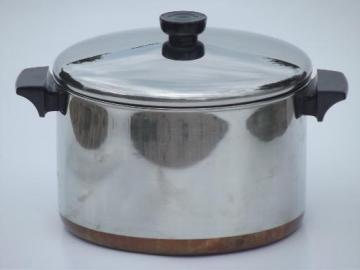 6 qt Revere Ware stockpot, vintage copper bottom Revereware pot w/ lid
