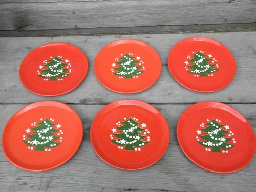 & 6 red and green Christmas Tree salad plates Waechtersbach pottery