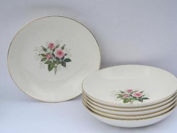 6 soup bowls, pink roses & baby's breath, 40s vintage Canonsburg china