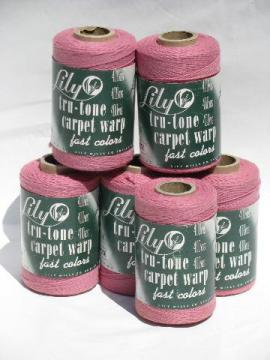 6 spools vintage Lily cotton rug thread, carpet warp weaving cord