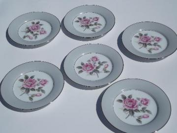 6 vintage Noritake Arlington bread or cake plates, pink rose w/ grey