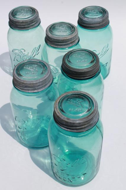 6 vintage quart size aqua blue Ball mason jars lot, antique canisters, old ring / glass lids