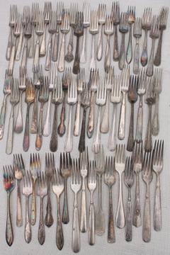 60 antique & vintage silver plate forks, shabby tarnished silverware flatware lot