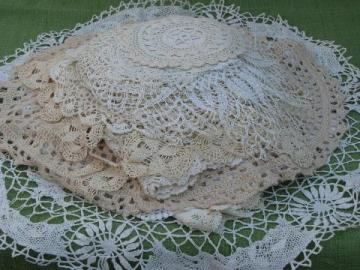 60+ vintage crocheted doilies, old handmade crochet lace doily lot