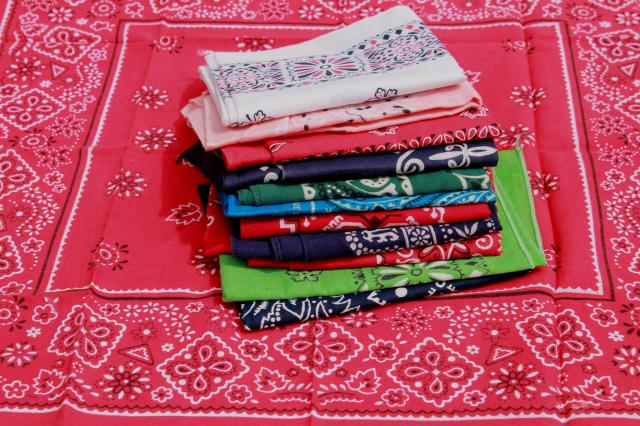 60s 70s 80s vintage cotton bandana handkerchiefs, scarf lot bandanas in retro colors