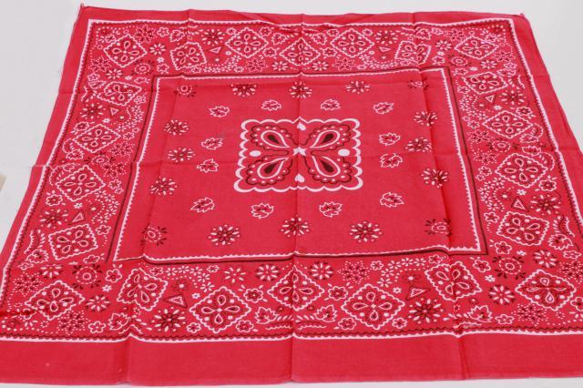 60s 70s 80s Vintage Cotton Bandana Handkerchiefs Scarf