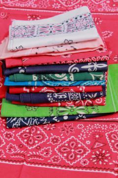60s 70s 80s vintage cotton bandana handkerchiefs, scarf lot bandanas in retro colors