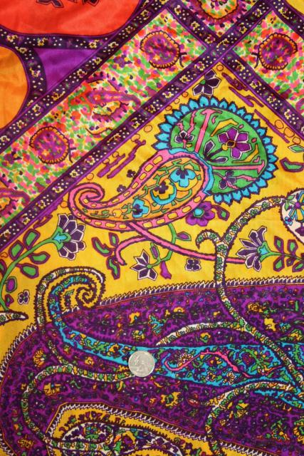 60s 70s hippie vintage poly tricot knit fabric, boho gypsy style paisley in bold colors