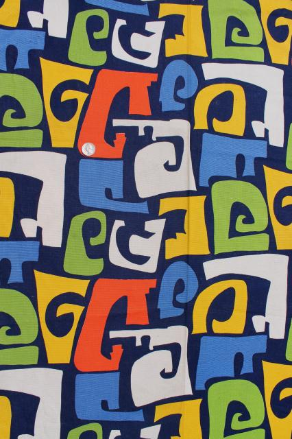 60s 70s mod vintage print cotton fabric, retro Marimekko style abstract art design
